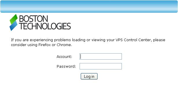 Login screen for web VPS