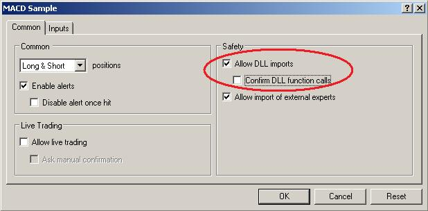 "DLLs only work in MetaTrader if ""Allow DLL imports"" are checked."