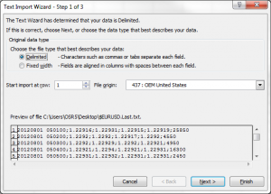 Excel Text Import Wizard