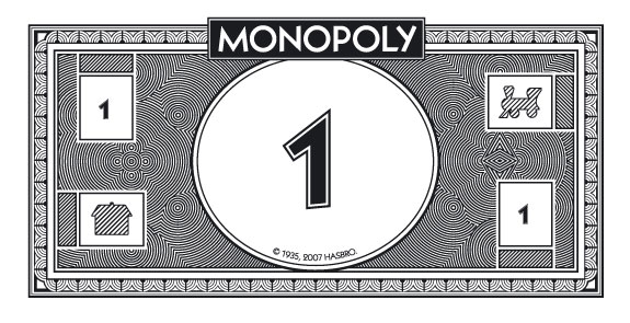A $1 bill from the board game Monopoly