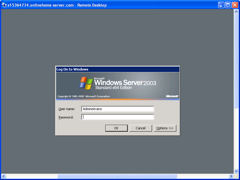 Login screen for Windows Remote Desktop