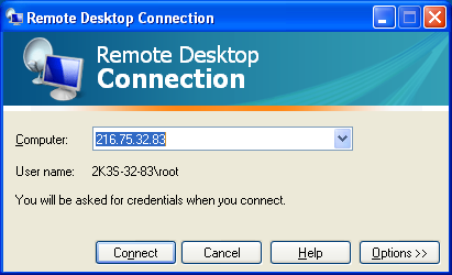 Information screen for Windows Remote Desktop