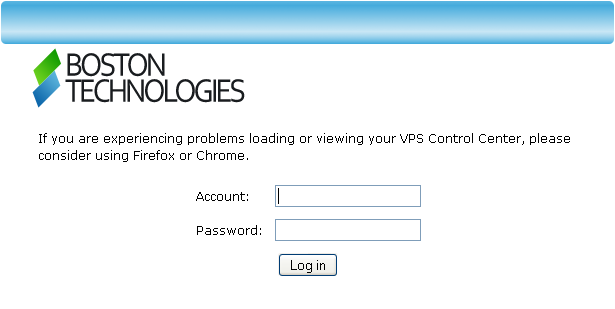 Login screen for web VPS