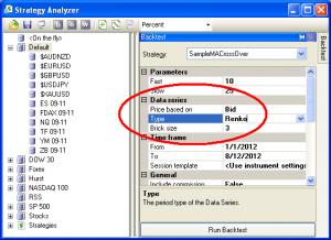 Screenshot of settings to create an accurate Renko backtest