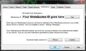 MT4 Notifications tab